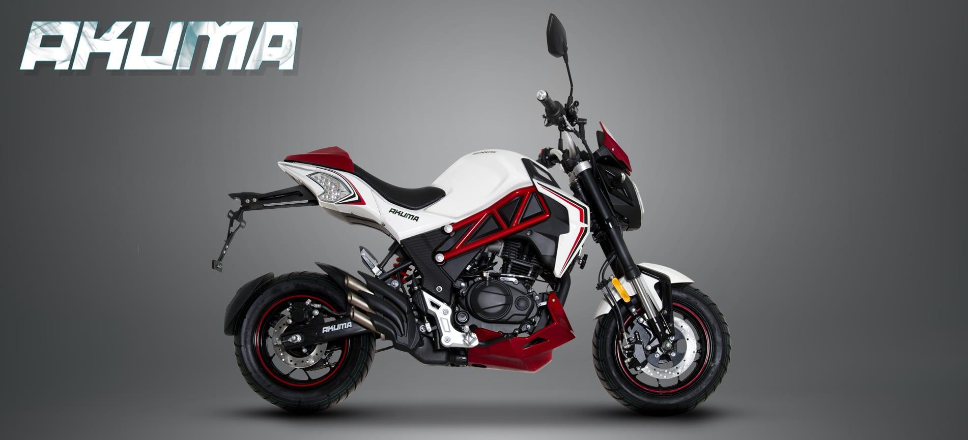 Sinnis 125cc Akuma Motorcycle wjite and red